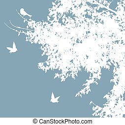 White birds - Vector tree and birds