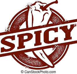 Spicy Food Chili Pepper Stamp - Spicy food stamp featuring...