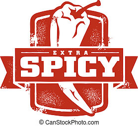 Extra Spicy Food Stamp - Spicy food stamp featuring chili...
