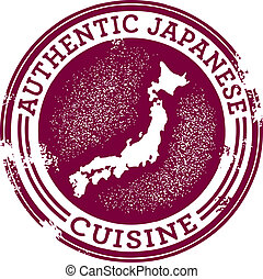 Authentic Japanese Food - Distressed style stamp featuring...