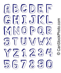 Hand Drawn Alphabet and Digits