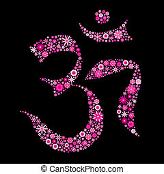 Aum - vector illustration of flower om symbol