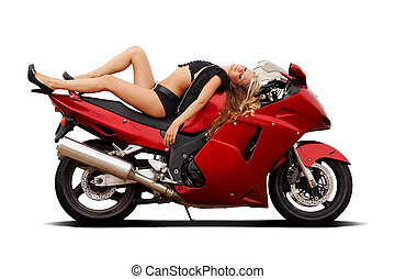 Girl on superbike - Sexy girl in bikini laying on a...