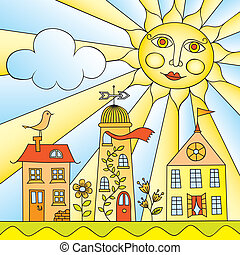 The City under The Sun - Child's Drawing of City under Sun