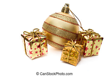 Golden christmas decoration with gift boxes isolated on...