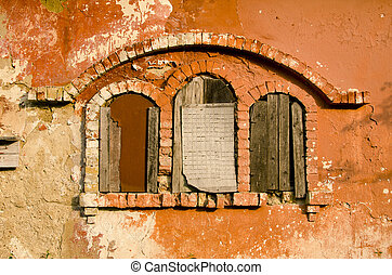 historical manor ruins windows - three historical manor...