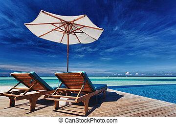ponte, sedie, infinità, stagno, sopra, tropicale,...