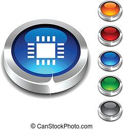 Cpu 3d button. -  Cpu 3d button set. Vector illustration.