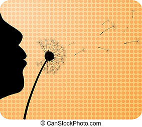Girl is blowing. - Gigl and dandelion. Vector illustration.