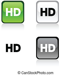 HD button - HD glossy square vibrant buttons
