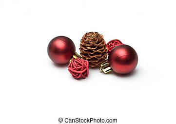 Five Christmas ornaments isolated on white