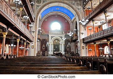 dentro, sinagoga, pecs