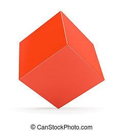 Red Cube Isolated on White