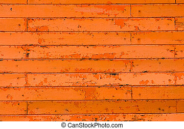 Orange screen of boards - A screen of boards with old orange...