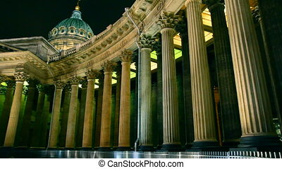 Kazan Cathedral at night in St Petersburg