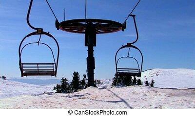 Old double ski lift