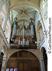 Organ of Etienne cathedral in Paris, France