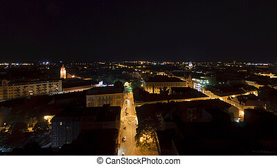Northern aerial view of szeged at night - Northern aerial...