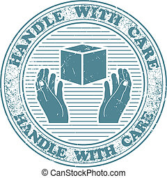Handle with care stamp - The vector image Handle with care...