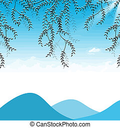 Branch of willow, mountains and sky