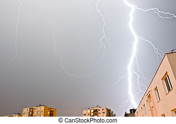 Large thunder storm over block of flats - Thunder storm over...
