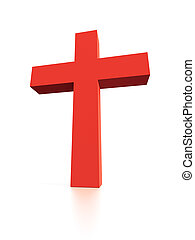 Cross - 3d Illustration of Red Cross Isolated on White...