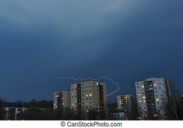 Thunder storm over block of flats in Hungary