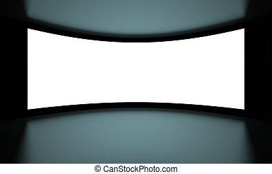 Screen - 3d illustration of White Screenon Black background