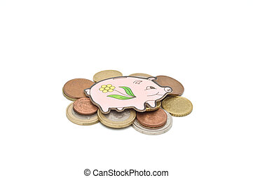 Pig lying on top of euro coins