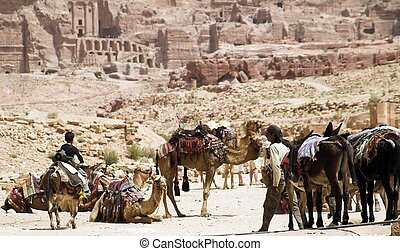 Petra ruins and mountains in Jordan - Tourist vacation in...