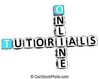 3D Tutorials Online Crossword on white background