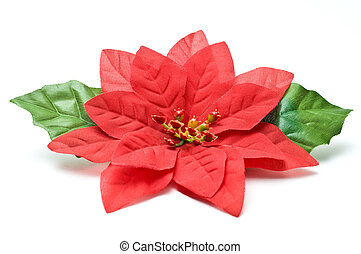 Fake poinsettia with two leaves top view isolated on white