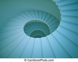 Spiral Staircase - 3d Illustration of Abstract Spiral...