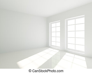 Empty Room - 3d Empty White Room with Windows