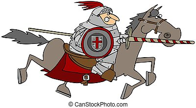 Jousting Knight On A Horse - This illustration depicts a...