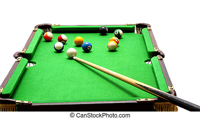 Miniature pool table - Miniature billiards table with cue...