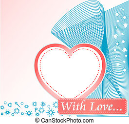 Cute cover design with grunge decoration and love heart
