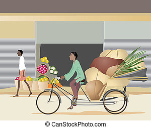 cycle rickshaw - an illustration of an asian man riding on a...