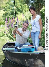 coppia, pesca, barca