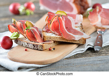 Snack with smoked bacon