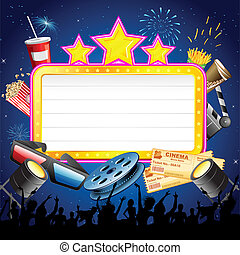 Cinema Display Board with Cheering Crowd - illustration of...