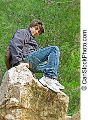 Teenager in the mountain