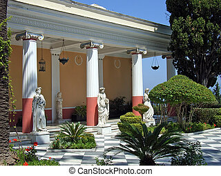 Achillion Palace - Gardens from the Achillion Palace in the...