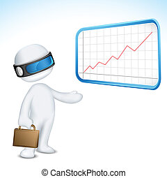 3d Vector Man giving Presentation