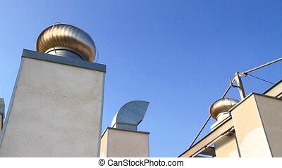 Rooftop Air conditioning - Rotating air conditioning on a...