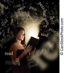 Woman Reading - A woman reading a book with words coming...
