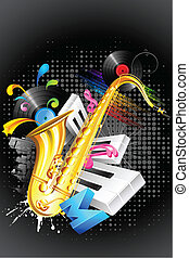 Musical Blast - illustration of abstract musical background...