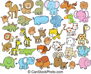 Animal Design Elements Vector Set - Animal Design Elements...