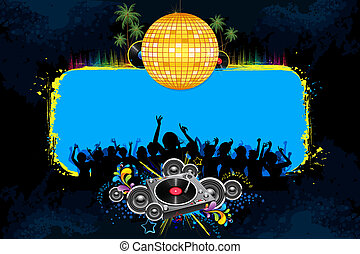 Disco Night - illustration of musical background with...