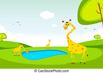Giraffe - illustration of giraffe standing in grassland near...